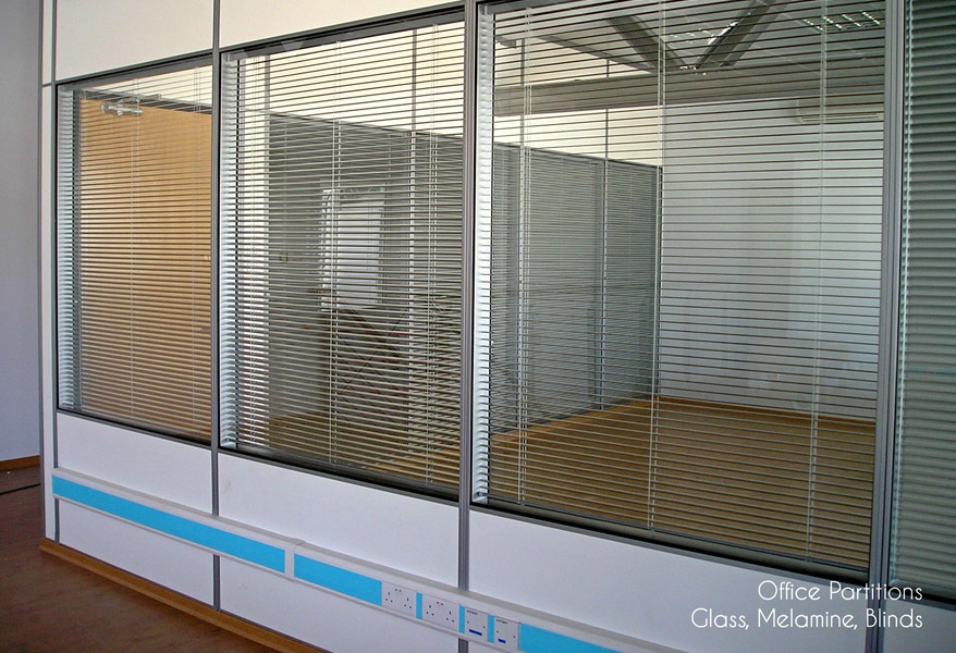 Office Partitions - Glass, Melamine, Blinds